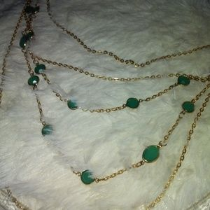 Mint and Gold Layered Necklace